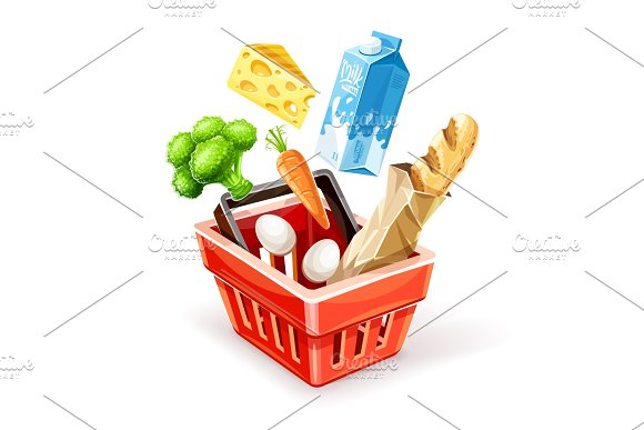 Shopping Basket With Organic Food