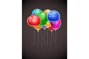 Birthday balloons soaring in air