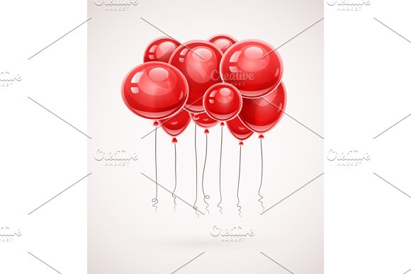 Red Birthday Balloons Soaring In Air