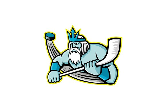Poseidon Ice Hockey Sports Mascot