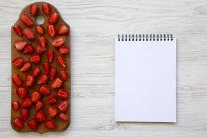 Top view, fresh strawberries
