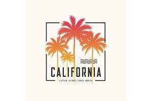 California Ocean Avenue tee print with palm trees, t shirt desig
