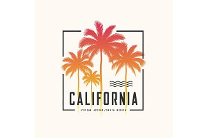 California Ocean Avenue tee print with palm trees, t shirt desig