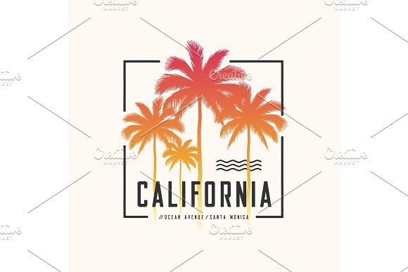 California Ocean Avenue Tee Print With Palm Trees T Shirt Desig