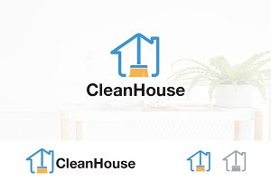House Clean Service Assistant Logo