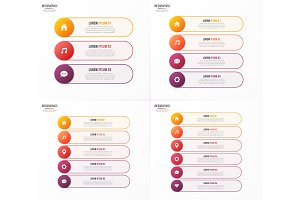 Infographic templates with 3 4 5 6 options. Vector design for we