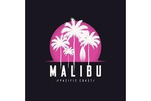 Malibu Pacific Coast tee print with palm trees, t shirt design,