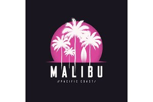 Malibu Pacific Coast tee print with palm trees, t shirt design,