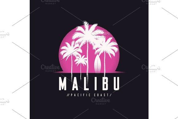 Malibu Pacific Coast Tee Print With Palm Trees T Shirt Design