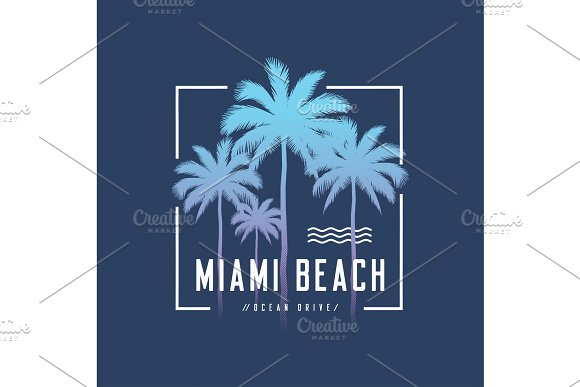 Miami Beach Ocean Drive Tee Print With Palm Trees T Shirt Desig