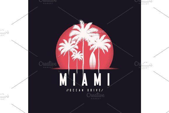 Miami Ocean Drive Tee Print With Palm Trees T Shirt Design Typ