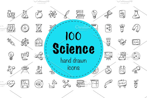 100 Science And Fiction Doodle Icons