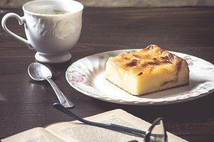 Sweet homemade apple cake and coffee