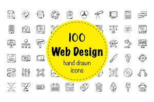 100 Web Design Doodle Icons