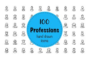 100 Professions Doodle Icons