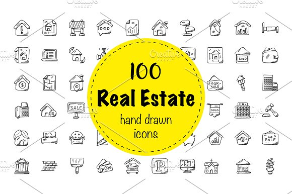 100 Real Estate Doodle Icons