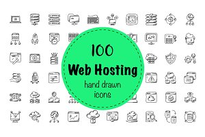 100 Web Hosting Doodle Icons