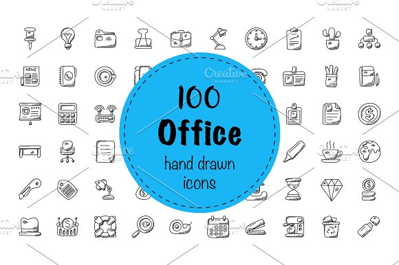 100 Office Doodle Icons