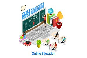 Online Education Concept Card