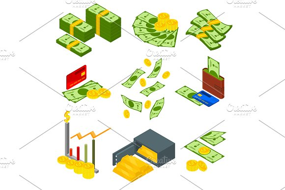 Money Set Isometric View Vector