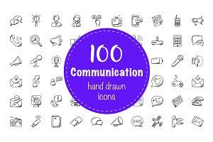 100 Communication Doodle Icons