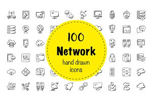 100 Network Doodle Icons