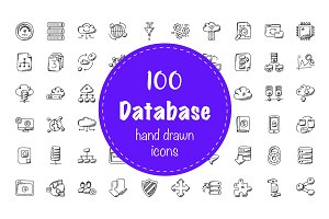 100 Database and Storage Doodle Icon