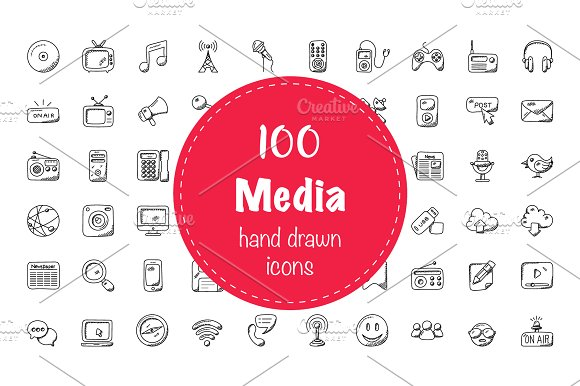 100 Media Doodle Icons
