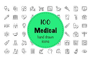100 Medical and Health Doodle Icons