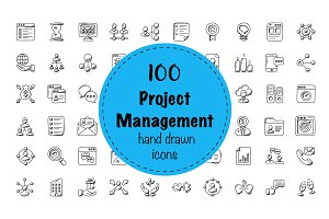 100 Project Management Doodle Icons