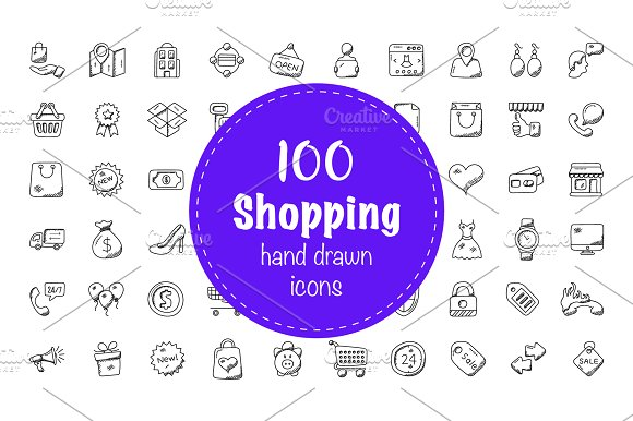 100 Shopping Doodle Icons