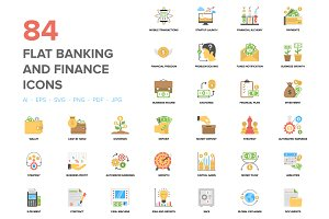84 Flat Banking and Finance Icons