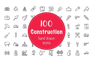100 Construction Doodle Icons
