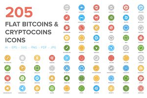 205 Bitcoin and Cryptocurrency Icons