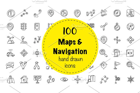 100 Maps And Navigation Doodle Icon