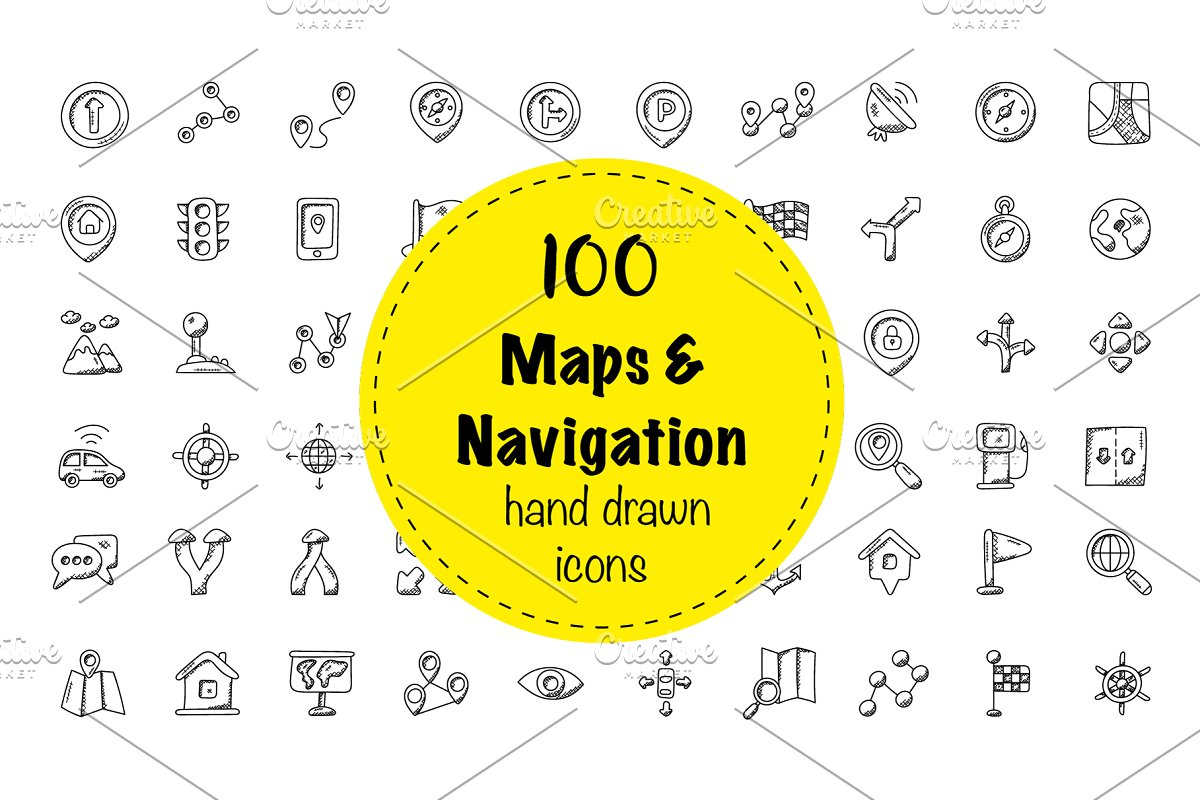 100 Maps And Navigation Doodle Icon ~ Icons ~ Creative Market Doodle Maps on