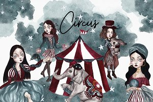Circus Halloween Watercolor Set