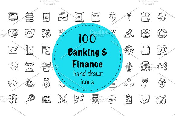 100 Banking And Finance Doodle Icon