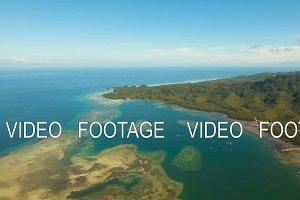 Aerial view tropical lagoon,sea, beach. Tropical island. Bohol, Philippines.