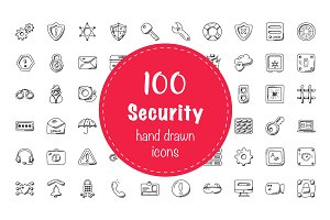 100 Security Doodle Icons