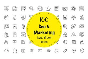 100 Seo and Marketing Doodle Icons