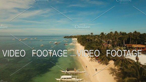 Aerial View Beautiful Alona Beach On A Tropical Island Bohol Philippines