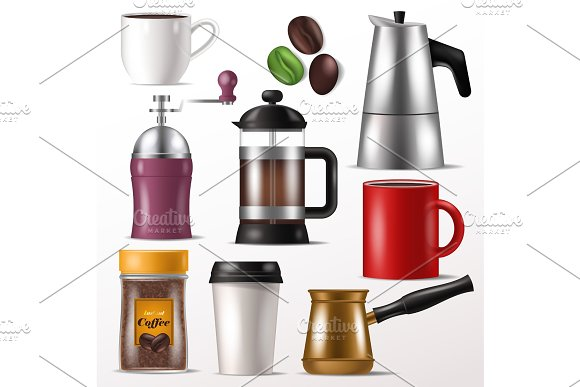 Coffee Cup Vector Mug For Hot Espresso And Beverages With Caffeine In Coffeeshop Illustration Set Of Coffee-grinder For Beans Or French Press Isolated On White Background