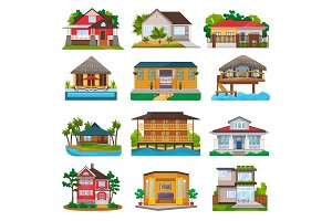 Villa vector facade of house building and tropical resort hotel on ocean beach in paradise illustration set of bungalow in village isolated on white background