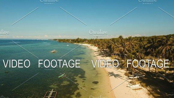 Aerial View Beautiful Beach On A Tropical Island Philippines Bohol