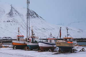 Old Fishing Boats in Winter