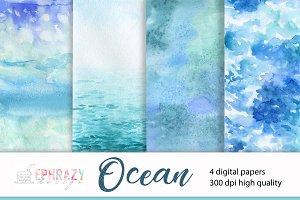Ocean digital paper. Sea background