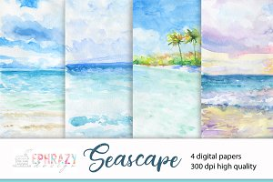 Seascape. Watercolor digital paper