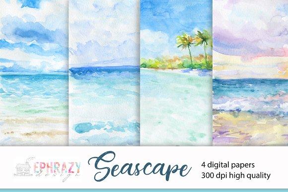 Seascape Watercolor Digital Paper