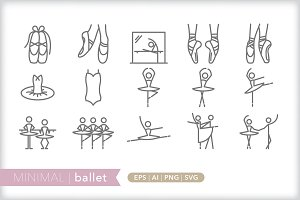 Minimal ballet icons